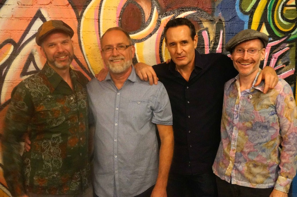 Gay writers Jason Jenn, Hank Henderson, Daniel Foster and Todd Swindell following a reading of Harold Norse's poetry at Stories Books & Cafe in Echo Park