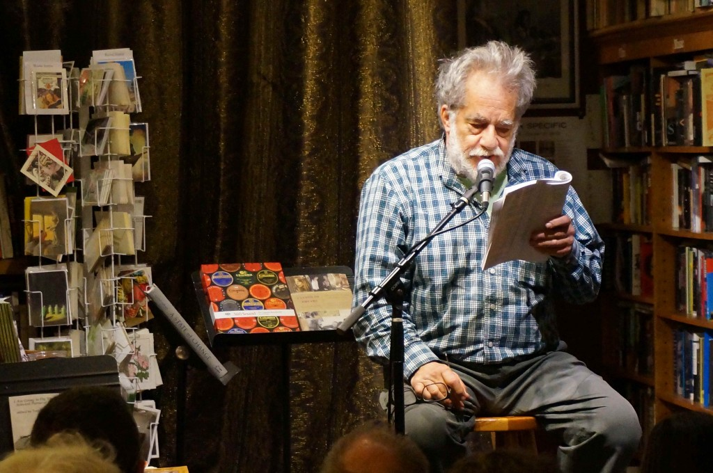 Neeli Cherkovski reads from the work of his friend and fellow poet Hal Norse at Bird & Beckett Books 12/3/14. Photo by Tate Swindell.