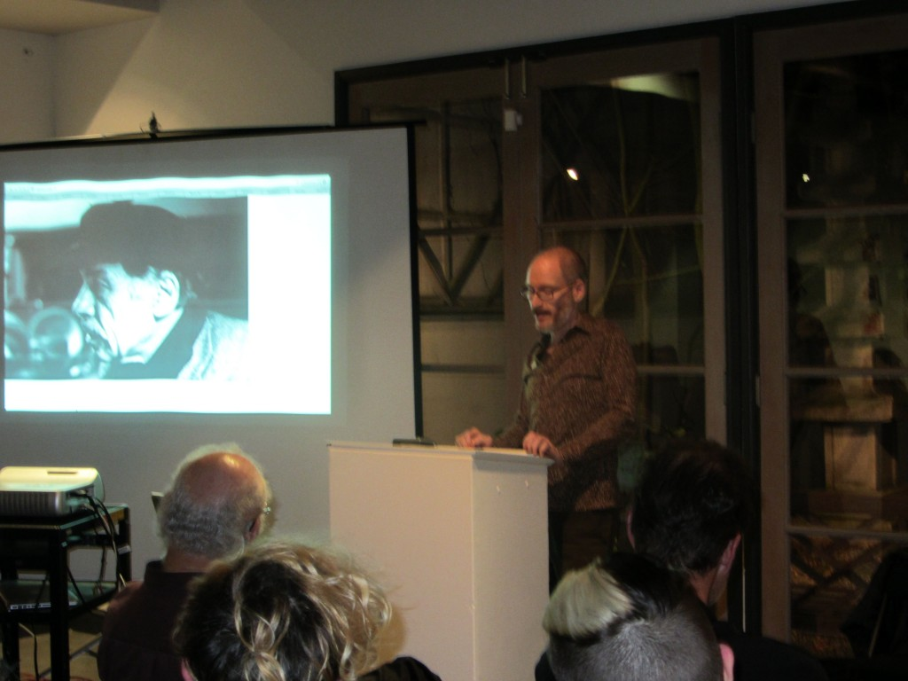 Todd Swindell speaking about Harold Norse at Writers Remembered, March 1, 2013. Photo by Gerald Nicosia